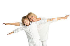 Portrait of the mother and son. Isolated on white Royalty Free Stock Images