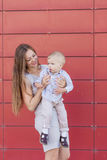 Portrait of mother and son on the nature Royalty Free Stock Photography