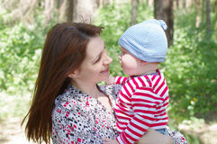 Portrait of mother and son outdoors Royalty Free Stock Photo
