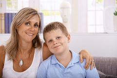Portrait of mother and son smiling Royalty Free Stock Image