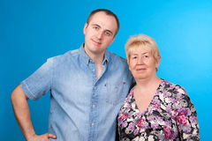 Portrait of mother and son in a studio Stock Photo