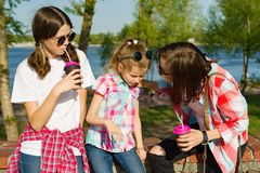 Portrait of mother and two daughters 14 and 8 years old, communicating in park in nature stock images