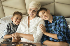 Portrait of a mother with two sons Royalty Free Stock Photography