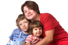 Portrait mothers with children on white close up Royalty Free Stock Photos