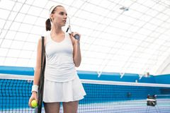 Motivated Sportswoman in Court royalty free stock image