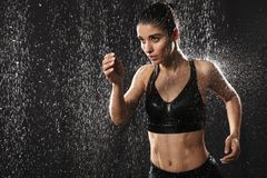 Portrait of a motivated young sportswoman royalty free stock photo