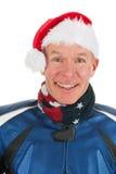 Portrait motor biker as Santa Claus Stock Photos