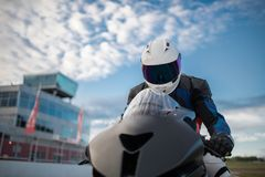 The close up of motobike driver Royalty Free Stock Photos