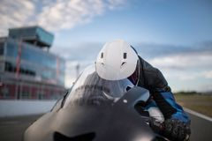 The close up of motobike driver Stock Image