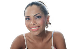 Portrait of mulatto posing in studio in white Royalty Free Stock Photography