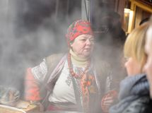 Portrait of a mulled wine vendor. Kyiv, Ukraine Royalty Free Stock Photography