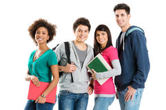 Portrait Of Multi Ethnic Students. Group Of Multi Ethnic Students Isolated On White Background stock photos