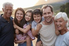 Portrait Of Multi Generation Family On Countryside Walk By Lake royalty free stock photos