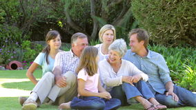 Portrait Of Multi Generation Family In Garden stock footage