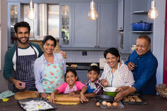 Portrait of multi-generation family smiling together while preparing food. In kitchen at home royalty free stock image