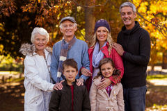 Portrait of multi-generation family standing at park Royalty Free Stock Photography