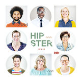 Portrait of Multiethnic Colorful Cheerful Hipsters Royalty Free Stock Photo