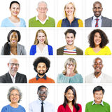 Portrait of Multiethnic Colorful Cheerful People Stock Images
