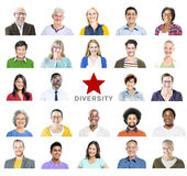 Portrait of Multiethnic Colorful Diverse People Stock Photos