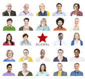 Portrait of Multiethnic Colorful Diverse People Royalty Free Stock Photos