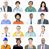 Portrait of Multiethnic Mixed Occupation People Stock Images