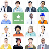 Portrait of Multiethnic Mixed Occupation People Royalty Free Stock Photo