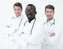 Portrait of a multinational group of doctors stock images