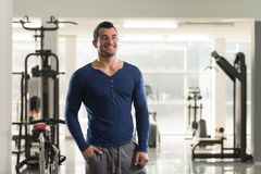 Portrait of Muscle Man in Blue T-shirt Royalty Free Stock Images