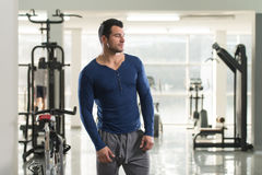 Portrait of Muscle Man in Blue T-shirt Stock Photography