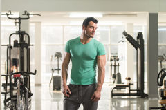 Portrait of Muscle Man in Green T-shirt Stock Photos