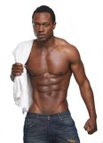 Muscular African American Man with No Shirt Royalty Free Stock Image