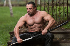 Portrait Of A Muscular Ancient Warrior With Sword Stock Photography