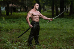 Portrait Of A Muscular Ancient Warrior With Sword Stock Images