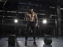 The portrait of muscular athlete celebrating his succesfull att Royalty Free Stock Images