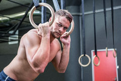 Portrait of muscular man doing ring gymnastics Royalty Free Stock Photo