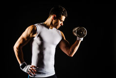 Portrait of muscular man exercising Stock Images