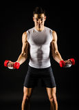 Portrait of muscular man exercising Royalty Free Stock Image