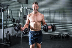 Portrait of muscular man lifting dumbbells Stock Photography