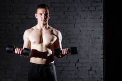 Portrait of a muscular man lifting weights against a dark background. Portrait of a muscular man lifting weights against a dark background royalty free stock photos