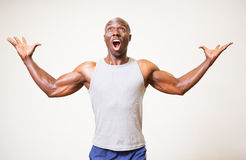 Portrait of a muscular man shouting Stock Photography
