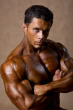 Portrait of a muscular man standing with folded hands Stock Photography