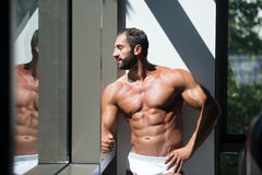 Portrait Of A Muscular Shirtless Male In Underwear Stock Photos