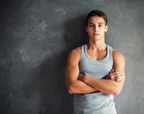Portrait of muscular young handsome man Royalty Free Stock Photos