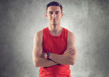 Portrait of muscular young handsome sportsman Royalty Free Stock Photo