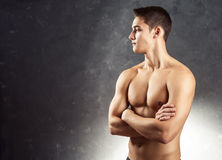 Portrait of muscular young man Stock Photos
