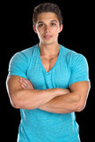 Portrait of a muscular young man people muscles Royalty Free Stock Photos