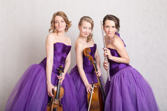 Portrait of a musical trio Stock Photos