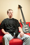 Portrait of musician with bass guitar Royalty Free Stock Photo