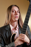 Portrait of musician with bass guitar Stock Image