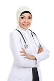 Smiling asian medical doctor in scarf Stock Photo